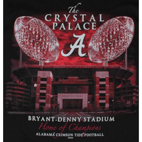 Home Of The Champions The Crystal Palace Weezabi Alabama Crimson Tide Black T-Shirt / Tee