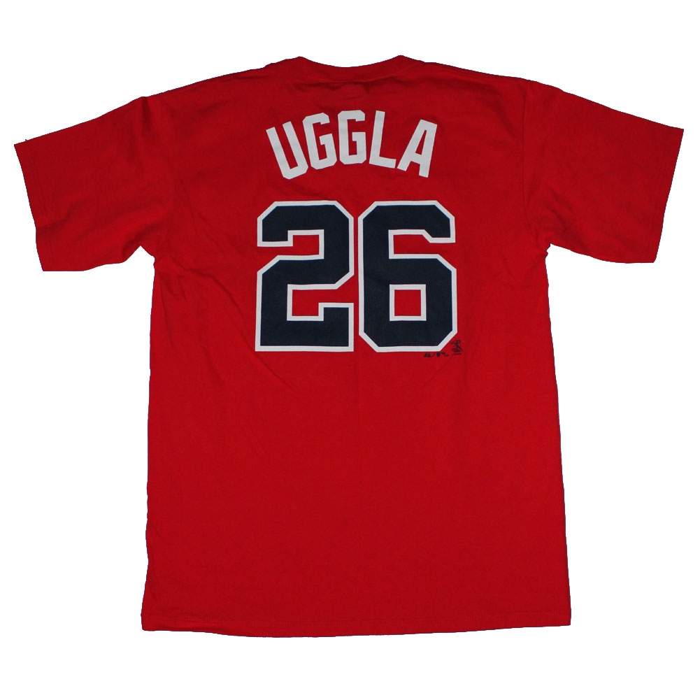 Majestic Atlanta Braves #26 Dan Uggla Red Player Name And Number T-shirt