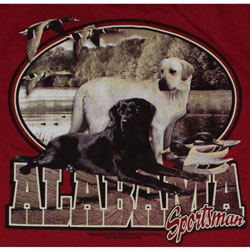 Alabama Crimson Tide Football T-Shirts - Alabama Sportsman - Lab Dogs & Ducks Tee