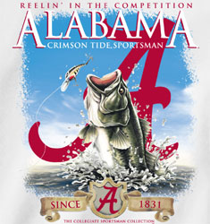Alabama Crimson Tide Football T-Shirts - Reelin In The Competition - Fishing Tee