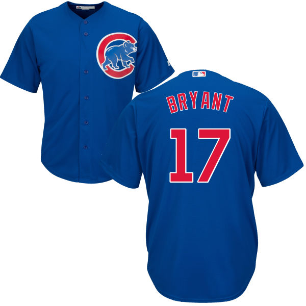 Kris Bryant 17 Chicago Cubs Majestic Cool Base Custom Jersey - Royal