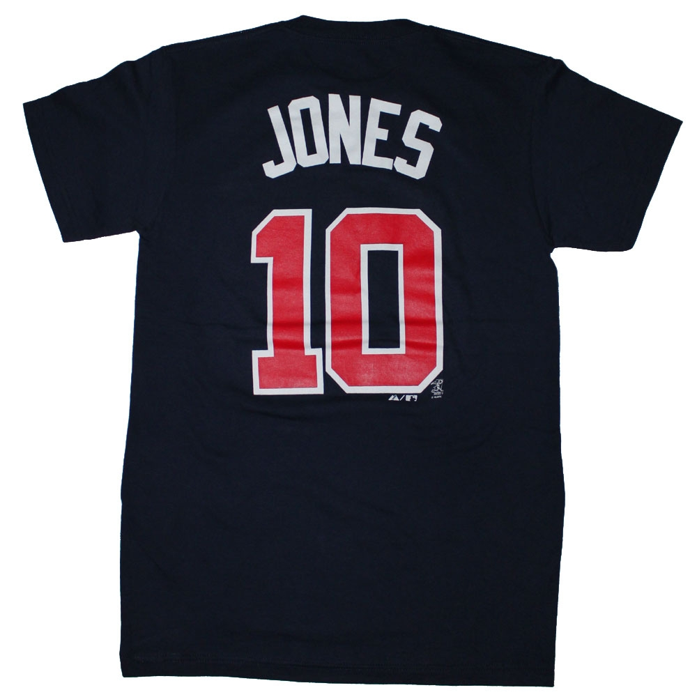 Majestic Atlanta Braves #10 Chipper Jones Navy Player Name And Number T-Shirt