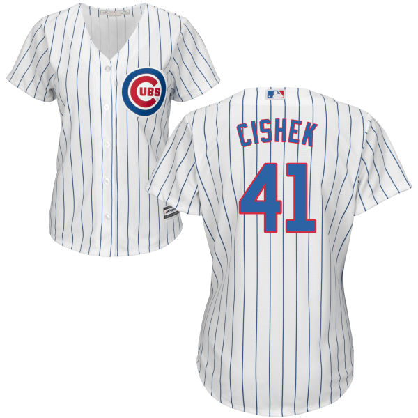 Steve Cishek 41 Chicago Cubs Majestic Womens Home Cool Base Custom Jersey - White
