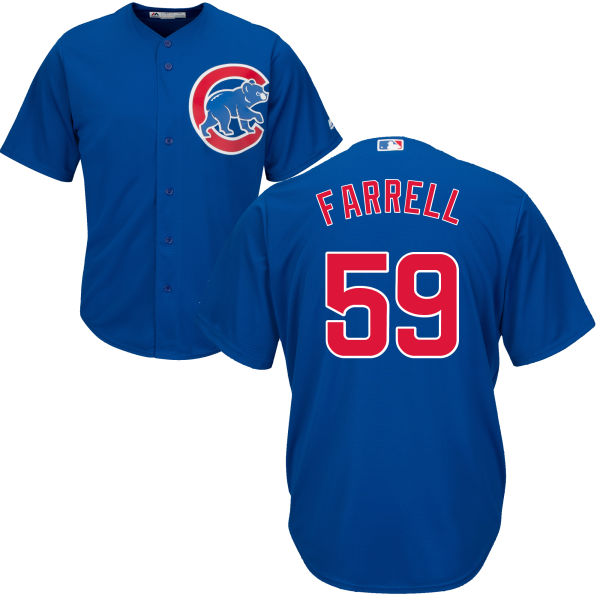 Luke Farrell 59 Chicago Cubs Majestic Cool Base Player Jersey - Royal