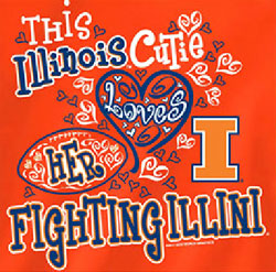 Illinois Fighting Illini Football T-Shirts - Cutie Loves Her Fighting Illini
