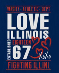 Illinois Fighting Illini Football T-Shirts - Love Fighting Illini Established In 1867