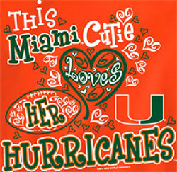 Miami Hurricanes Football T-Shirts - This Cutie Loves Her Hurricanes