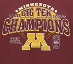 Minnesota Golden Gophers Football T-Shirts - Baseball Big Ten 2010 Champions