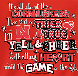 Nebraska Cornhuskers Football T-Shirts - Yell & Cheer For Big Red