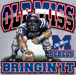 Ole Miss Rebels Football T-Shirts - Three Point Stance Bringin It