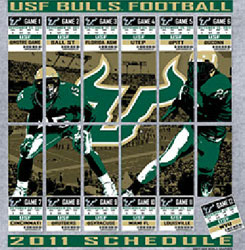 South Florida Bulls USF Football T-Shirts - 2011 Tickets To Glory - Schedule