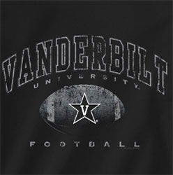 Vanderbilt Commodores Football T-Shirts - Black T-Shirt With Football