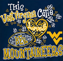 West Virginia Mountaineers Football T-Shirts - Cutie Loves Her Mountaineers